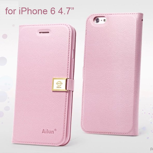 "Ailun Luxury Leather Wallet Case Protective Cover for iPhone 6S & iPhone 6 4.7"" - Pink"