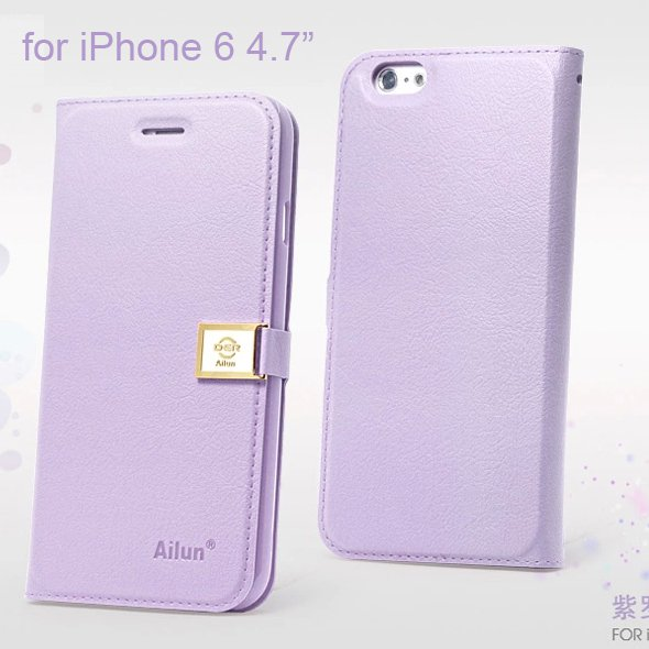 "Ailun Luxury Leather Wallet Case Protective Cover for iPhone 6S & iPhone 6 4.7"" - Violet"
