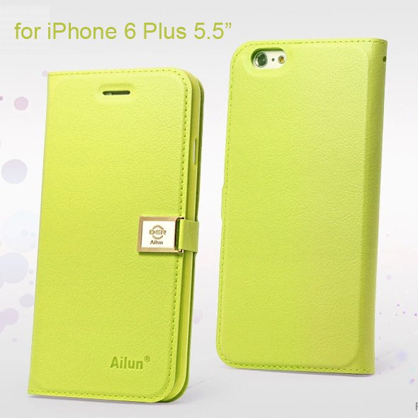 """Ailun Luxury Leather Wallet Case Protective Cover for Apple iPhone 6S Plus & 6 Plus 5.5"""" - Green"""