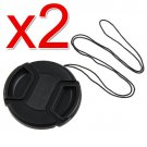 2x 58mm Center Pinch Lens Cap w/ Leash for Canon 18-55mm EOS Rebel T4i T3 T3i T2i XSi T5i