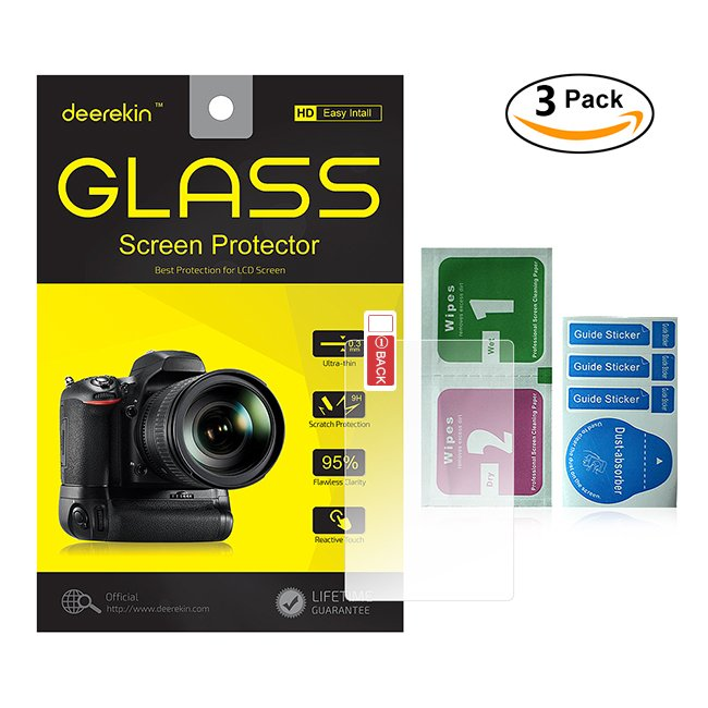 3-Pack Self-Adhesive Glass LCD Screen Protector for Canon EOS Rebel 750D T6i / 760D T6s / 7D Mark II