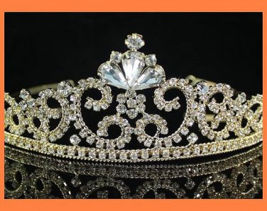 GOLD Victorian l and Crystal Tiara Headpiece