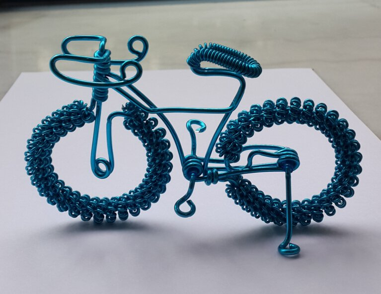 unique custom handmade gift wire bike blue bicycle birthday presents