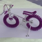 unique custom handmade gift wire bike Violet with silver bicycle birthday presents