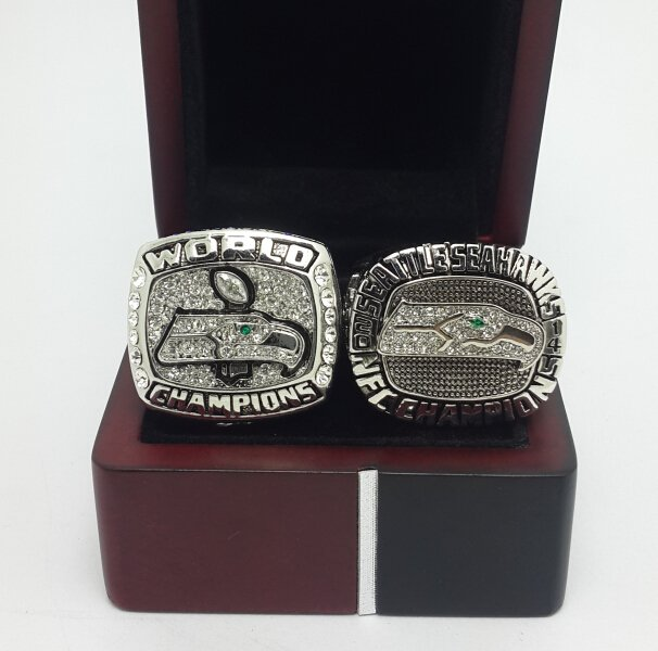 2013 2014 Seattle Seahawks NFC super bowl championship ring size 9-13 US 2 PCS  with wooden box
