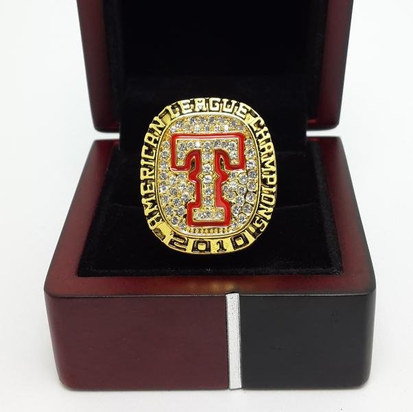 2010 Texas Rangers AL American League baseball championship ring size 11 US with wooden box