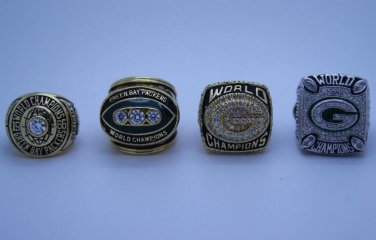 4 PCS Green Bay Packers 1966 1967 1996 2010 super bowl championship rings size 9-14 US Gift