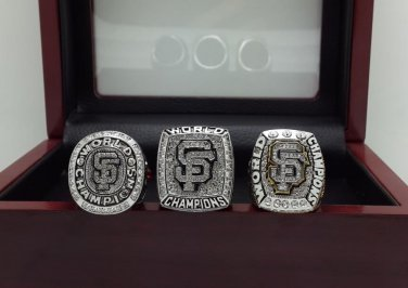A Set San Francisco Giants 2010 2012 2014 world series championship ring size 11 with wooden case