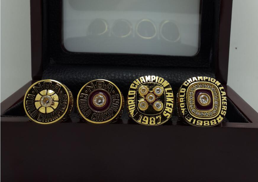 A set Los Angeles Lakers 1980 1982 1987 1988 Championship rings JOHNSON size 8-14 US + Wooden Case
