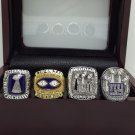 A Set New York Giants 1986 1990 2007 2011 super bowl championship ring size 11 with wooden case