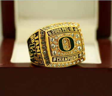2009 Oregon Ducks PAC 10 National Championship ring 8-14 size solid back + Wooden Box