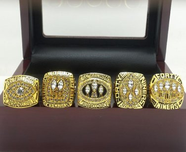 San Francisco 49ers 1981 1984 1988 1989 1994 super bowl championship rings size 11 with wooden case