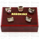 5PCS Washington Redskins 1972 1982 1983 1987 1991 super bowl championship rings Wooden Case