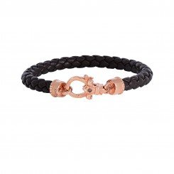 Phillip Gavriel Brown Braided Leather bracelet with Fleur De Lis Clasp and 0.015 ct. Ruby