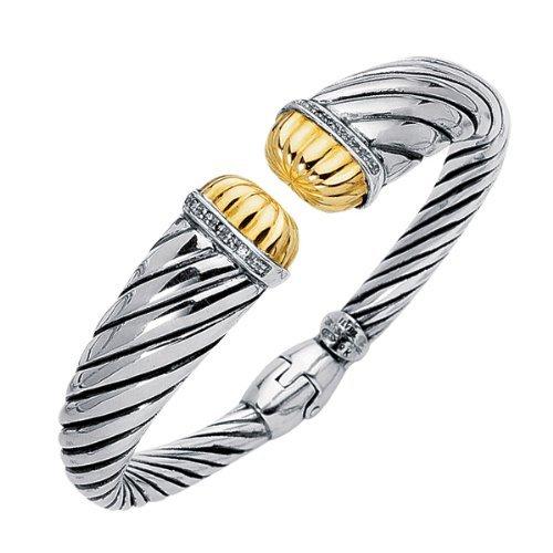 """Phillip Gavriel 18K Gold & Sterling Silver 0.12ctw Diamond Cuff Bangle 7"""""""