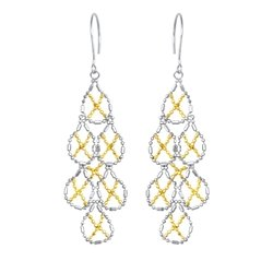 "Royal Duet ""Balinese Bead Collection"" Sterling Silver & 14K Gold Drop Earrings"