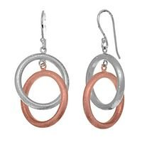 Stardust pink double ring earrings in sterling silver