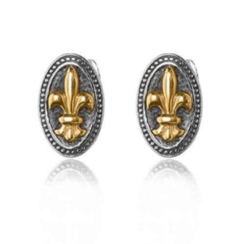 "Phillip Gavriel Collection - 18K Gold & Sterling Silver Oval ""fleur-de-lis"" Cufflinks"