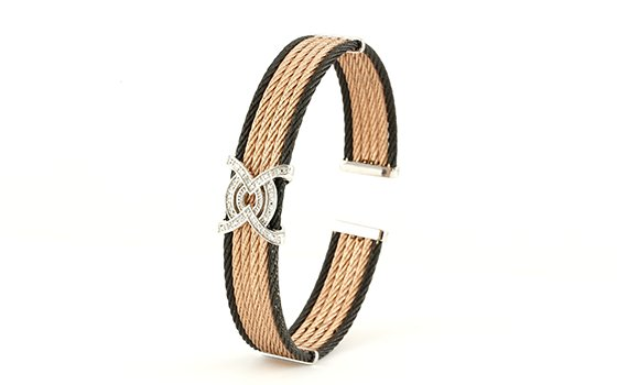 Montreaux collection Black and rose gold-toned bangle sterling accents and 0.04twt round diamonds.