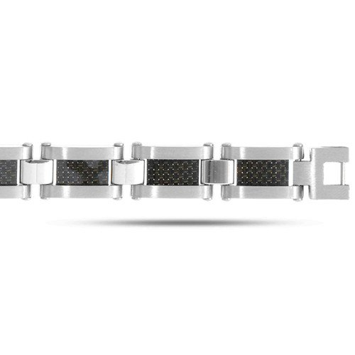 Joseph Tyler Stainless Steel Black And White Men's Bracelet - 8.25 Inches