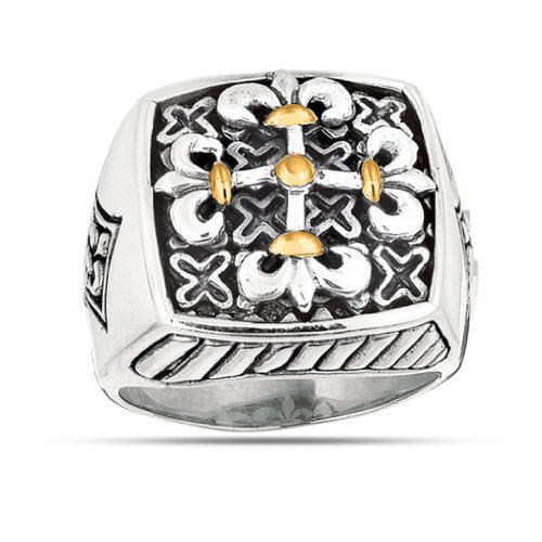 Phillip Gavriel Oxidized Maltese Ring In Sterling Silver & 18K Gold