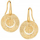 STIL NOVO 14K Gold Flat Circle Mesh Dangle Earrings-Hand Made Italy