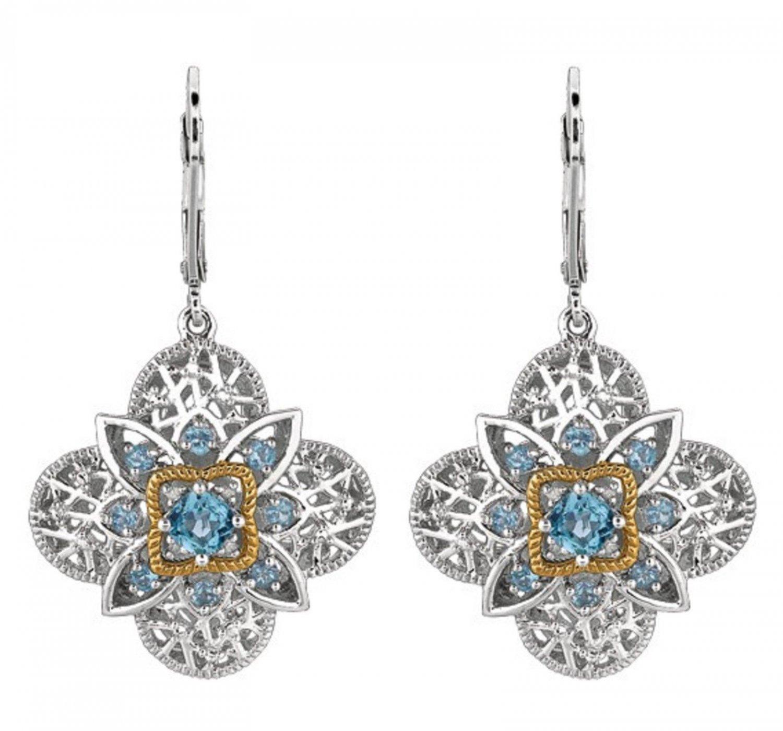 Royal duet - 14K Yellow Gold & Silver diamond topaz Earrings