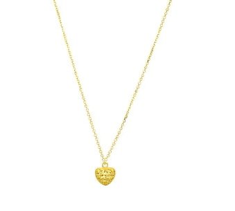 "Stil Novo - 14kt Yellow Gold Heart Shaped Birds Nest Pendant - 18"" Diamond Cut Cable Chain"