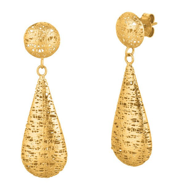STIL NOVO 14K Gold 12M Ball Long Mesh Dangle Earring Hand Made Italy-ER1793