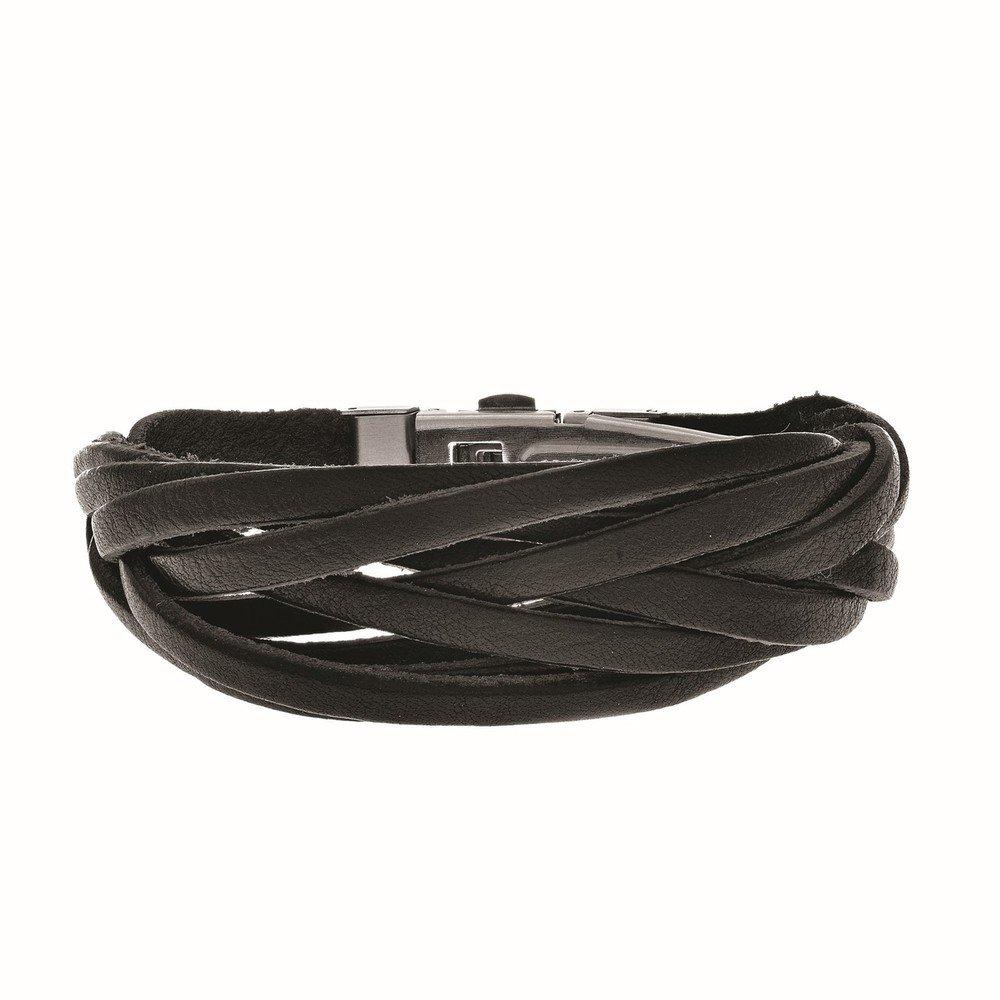 Joseph Tyler Stainless Steel Leather Weaved Strand Black Bracelet  ss888