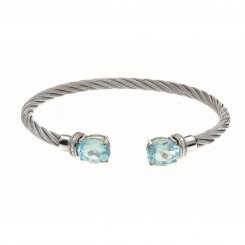 Montreaux Jewelry collection Stainless Steel & Silver Bangle with Blue Topaz 0.03ct.Diamond