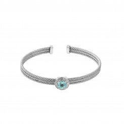 Montreaux collection bangle with sterling silver accents, blue topaz and 0.03twt round diamond