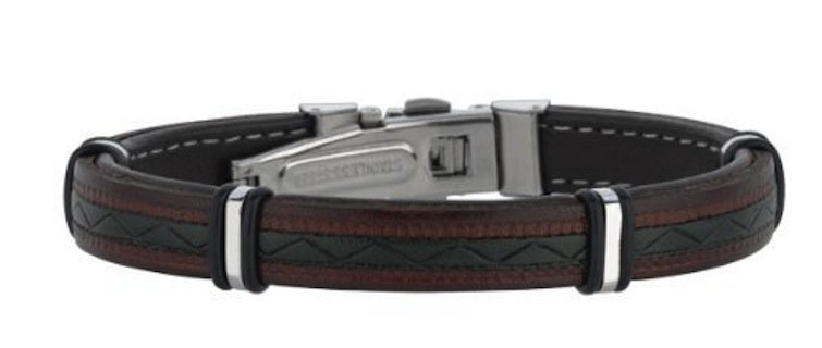 Joseph Tyler collection JTC Stainless Steel Two-tone Leather Bracelet Deployment Clasp