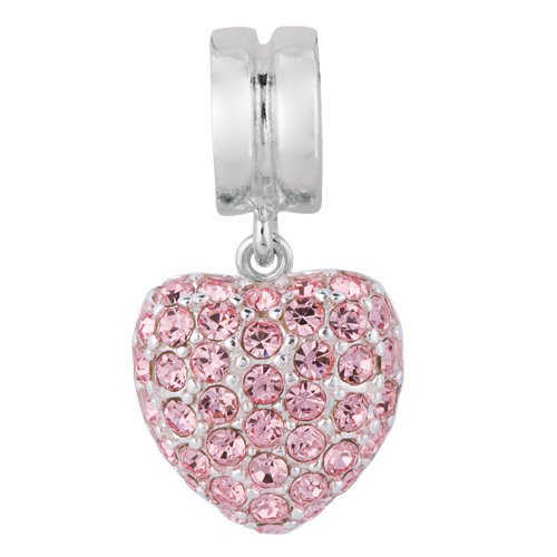 Personality Pink crystal embedded dangle heart bead