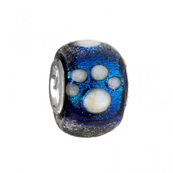 Personality blue and gold dichroic glass bead with white paw print