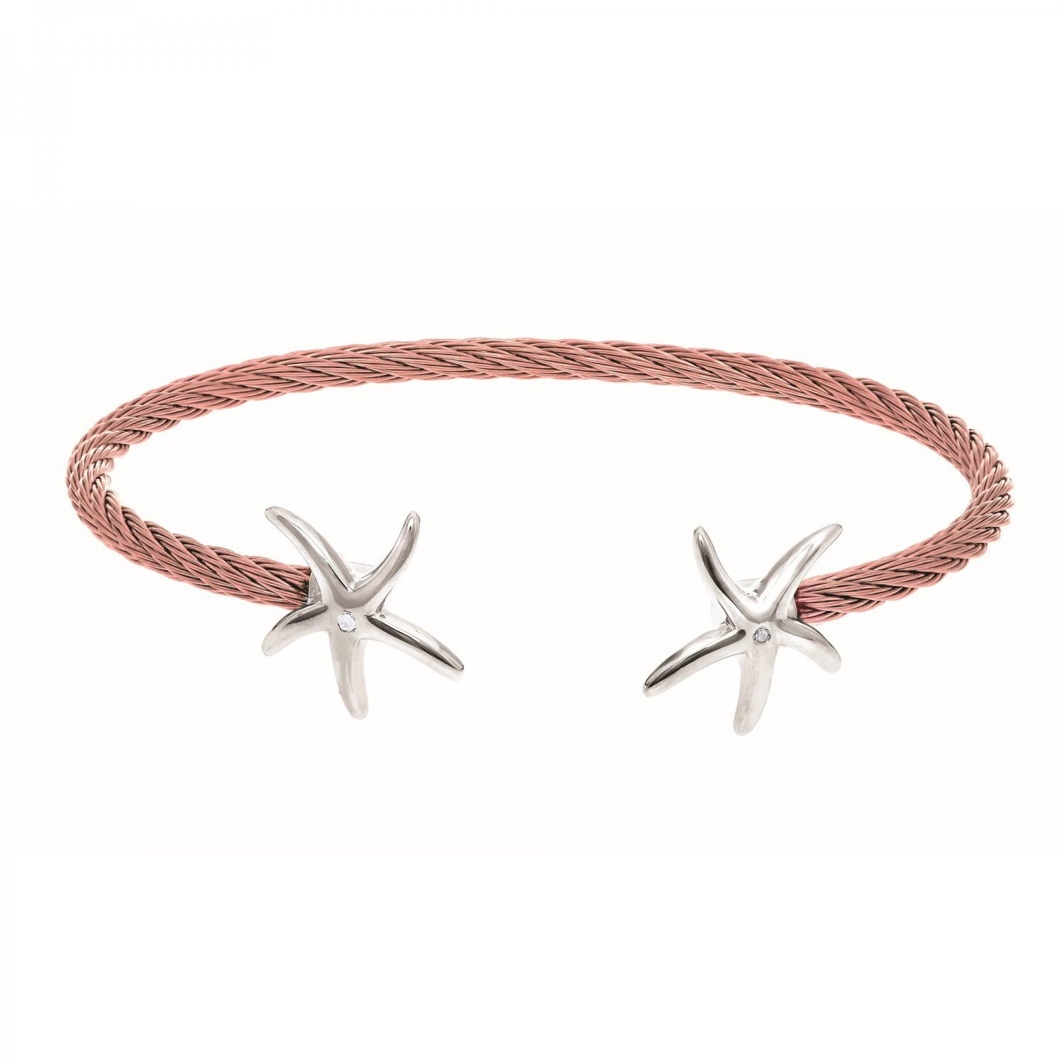 Montreaux Collection Sterling Silver Starfish Rose Pink Stainless Steel .01ct Diamonds Bangle