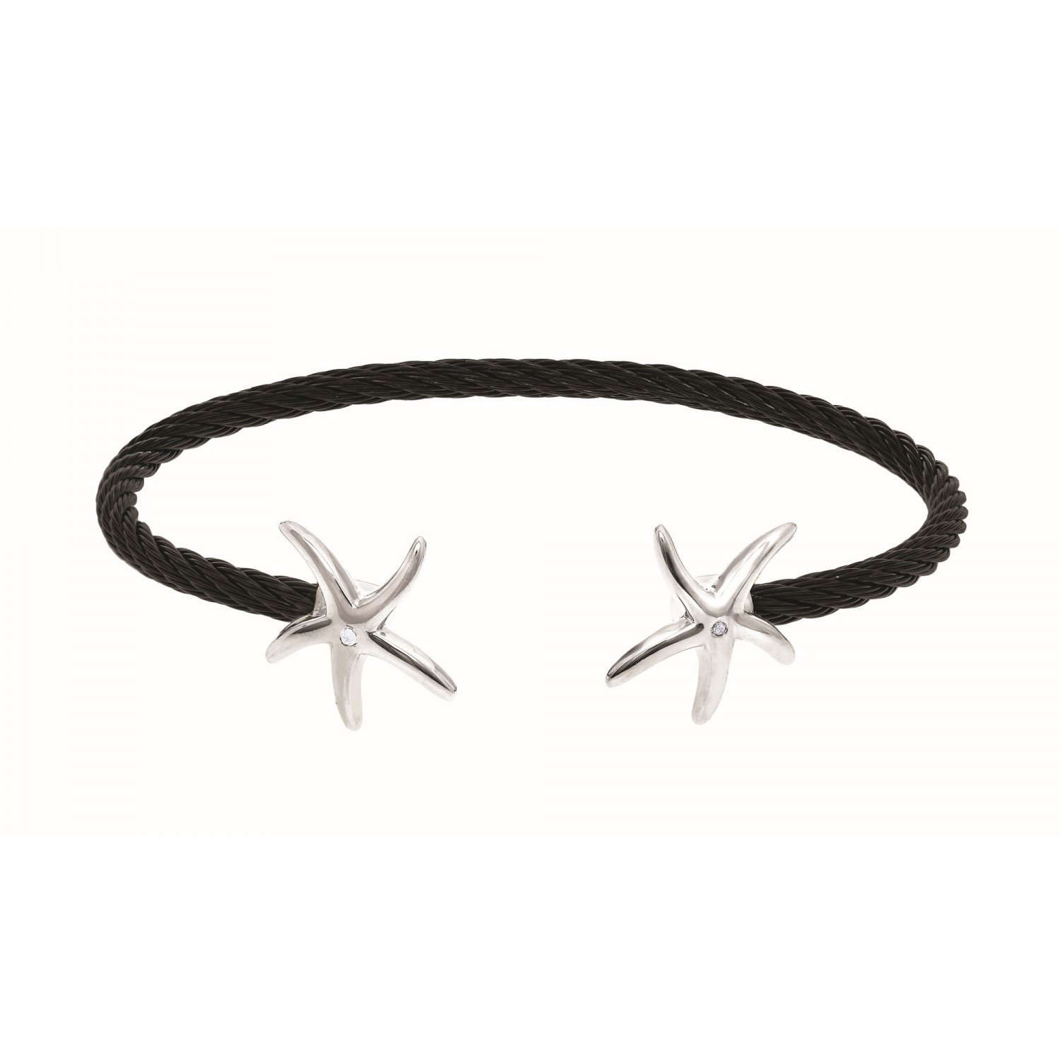 Montreaux Collection Sterling Silver Starfish Twisted Black Stainless Steel .01ct Diamonds Bracelet