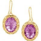 Stil Novo 14k Yellow Gold Mesh Oval Drop Amethyst Earrings