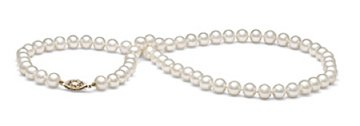 AAA Quality Round 7.5-8mm White freshwater Pearl Strand Necklace