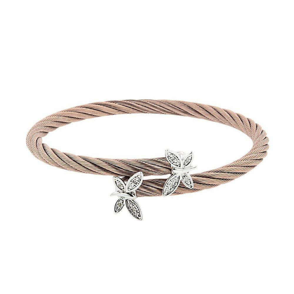 Montreaux Rose Toned and Sterling Silver & Stainless Steel Butterfly Bracelet With Diamond Accents