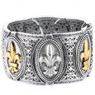 "Phillip Gavriel Collection - 18K Gold & Sterling Silver ""fleur-de-lis"" Bracelet"