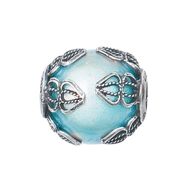Personality aqua filigree glass bead