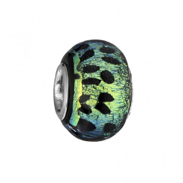 Personality blue & lime dichroic glass bead with black cheetah print