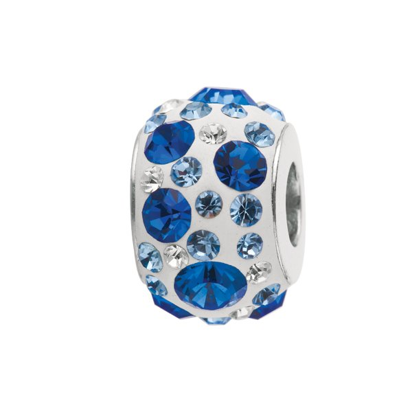 Personality silver kaleidoscope bead w/blue crytals