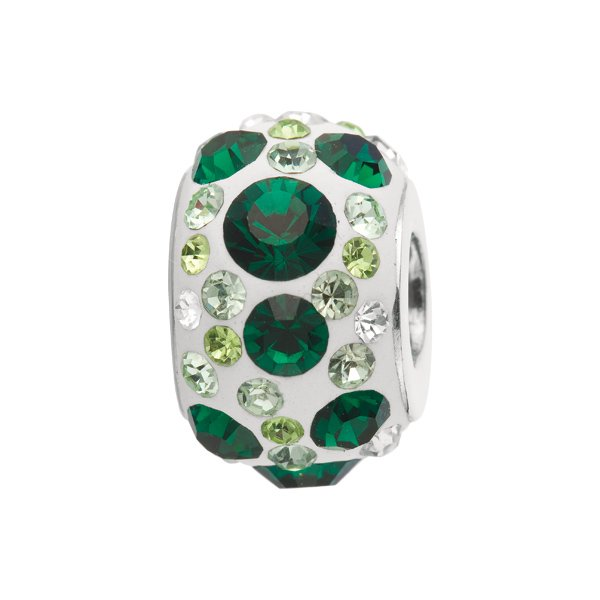 Personality - silver kaleidoscope bead w/ embedded green crystals