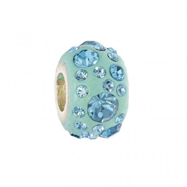 Personality aqua blue crystal on aqua blue elliptical kaleidoscope bead