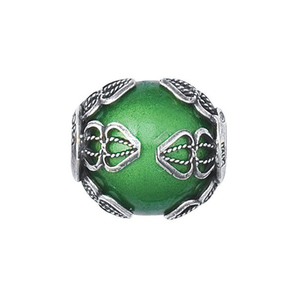 Personality green filigree glass bead