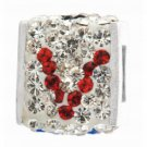 "Personality jewelry collection Red+Blue+White Inital ""V"" Cube Bead w/White Crystal Backdrop"