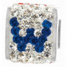 "Personality jewelry collection Red+Blue+White Crystal Inital ""W"" Cube Bead"