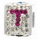 "Personality jewelry collection Red+Blue+White Crystal Inital ""T"" Cube Bead"